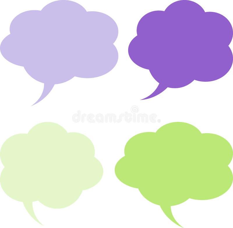 Obłocznych mowa bąbli Zielone purpury ilustracja wektor