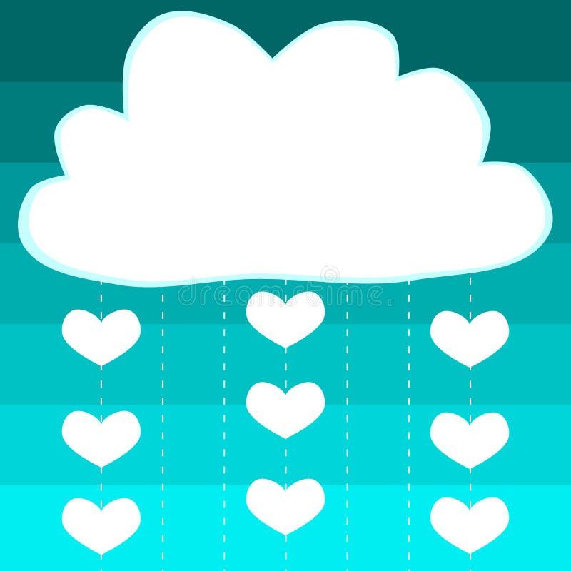 Obłocznych serc dziecka prysznic podeszczowa karta ilustracji