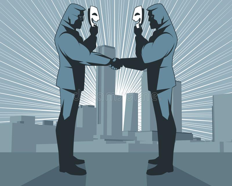 Obłudny uścisk dłoni biznesmeni ilustracja wektor