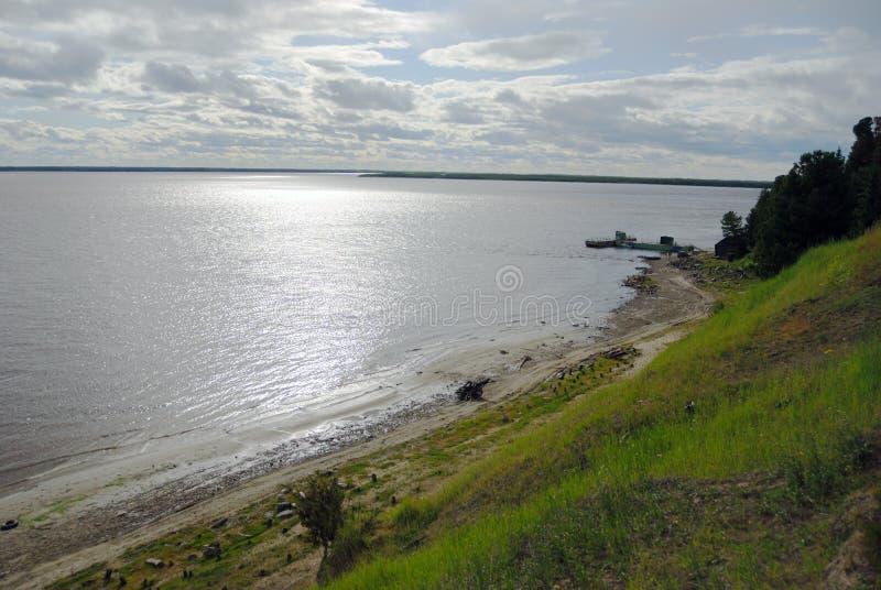 Ob, belangrijke rivier in westelijk Siberië, Rusland royalty-vrije stock foto