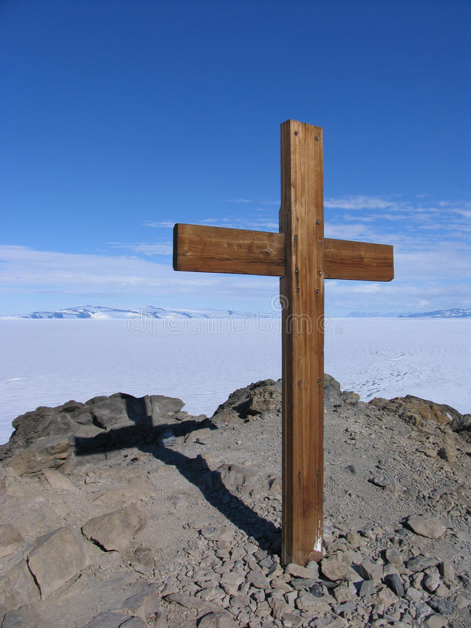 Ob Hill Cross. The cross which is located on the top of Observation Hill and commemorates Robert Falcon Scott and his men who perished in the attempt to be the stock images