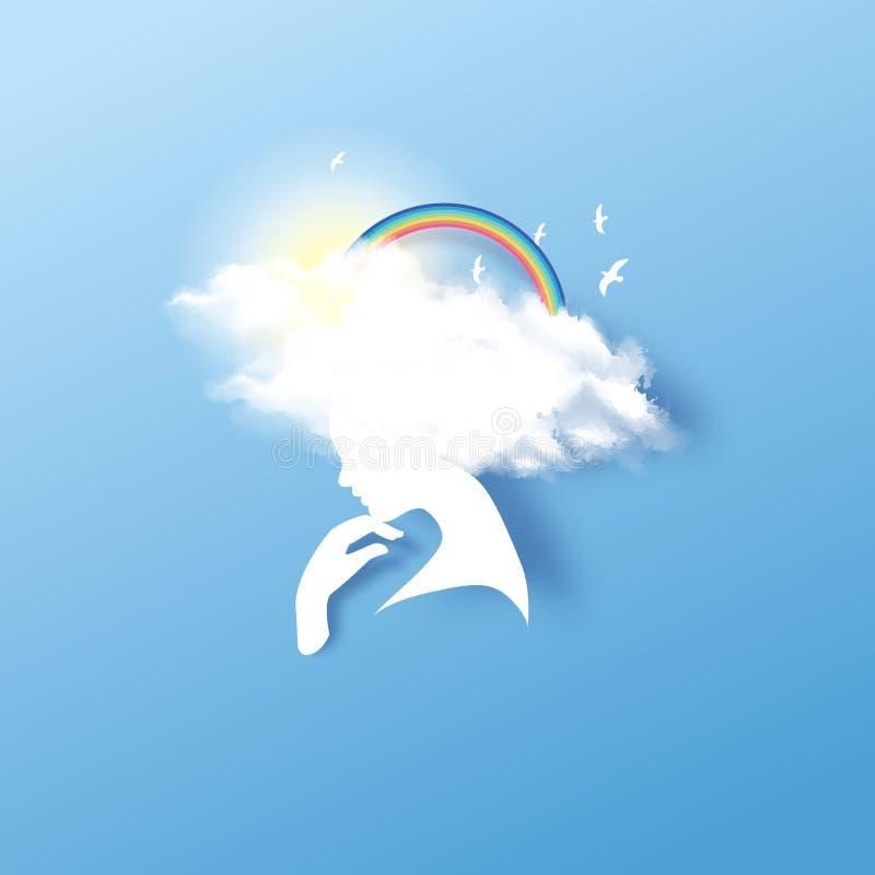 Ob?oczna g?owa Marzycielska dziewczyna z chmurną włosianą tęczą i ptak odizolowywamy na bławym tle Poj?cie wolno?? i tworzenie ilustracja wektor
