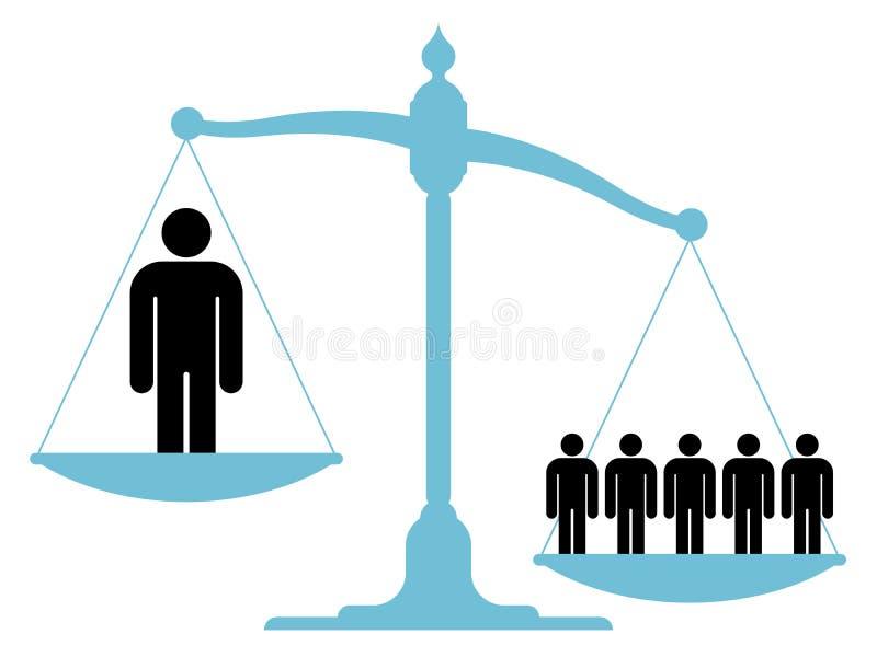 Obalanserad skala med en enkel man och en grupp royaltyfri illustrationer