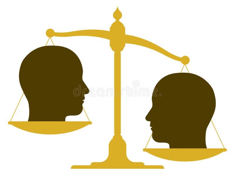 Obalanserad skala med två huvud royaltyfri illustrationer