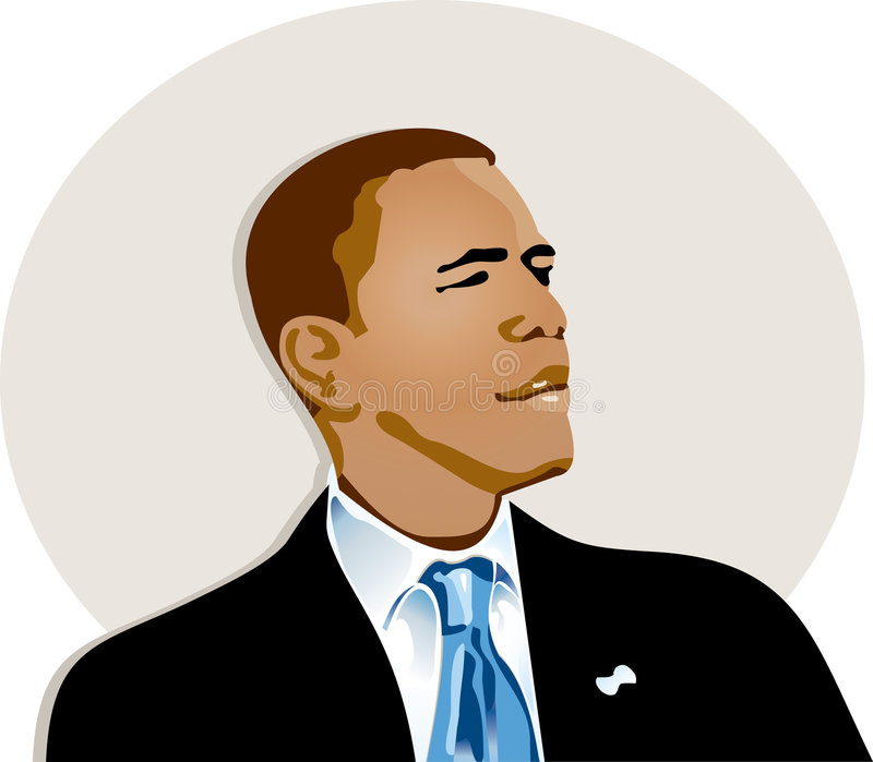 Obama. Illustration of Barack Obama medium shot on position lateral body watching towards the right with suit and necktie