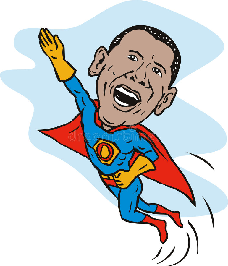 Obama as a superhero. Illustration showing Obama as a superhero