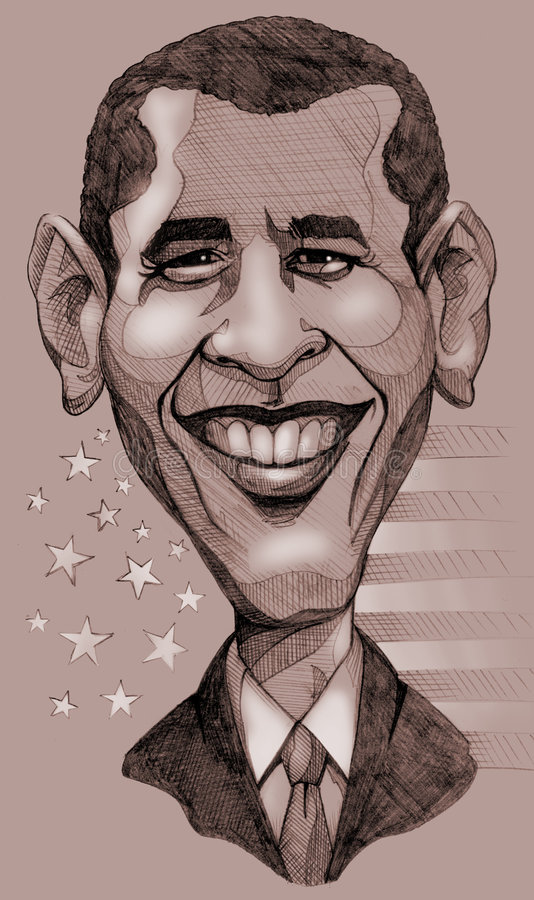 Obama caricature. A pencil-drawn monochrome caricature of the President of United States, Barack Obama royalty free illustration