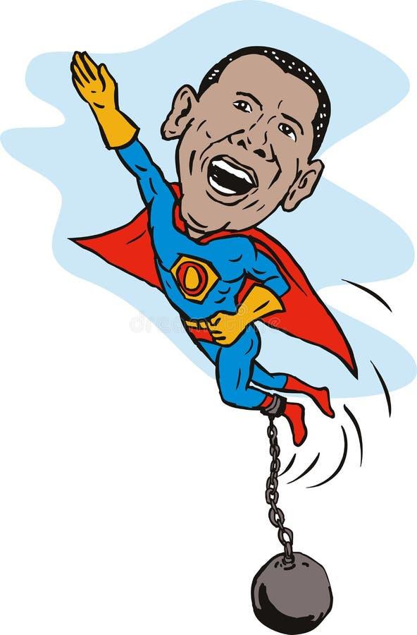Obama come supereroe con la catena della sfera illustrazione di stock