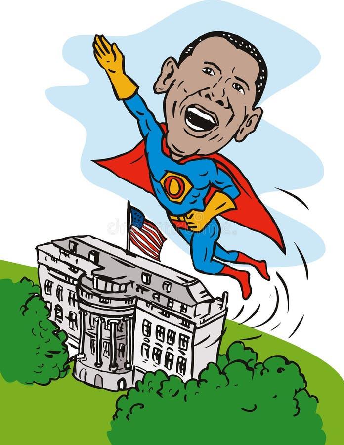 Obama como a casa do branco do super-herói ilustração royalty free