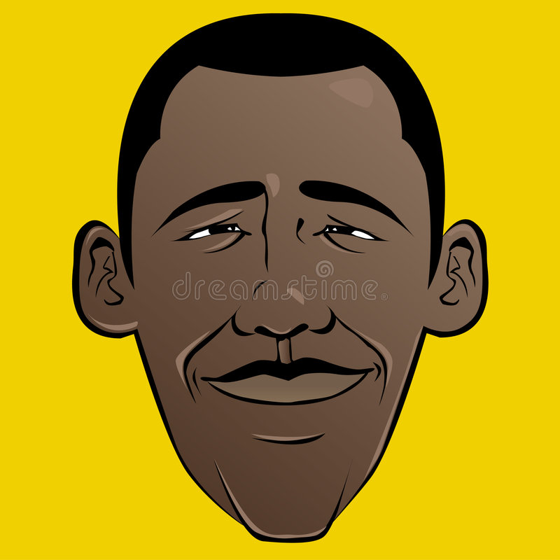 obama de visage de dessin animé de barack illustration de vecteur