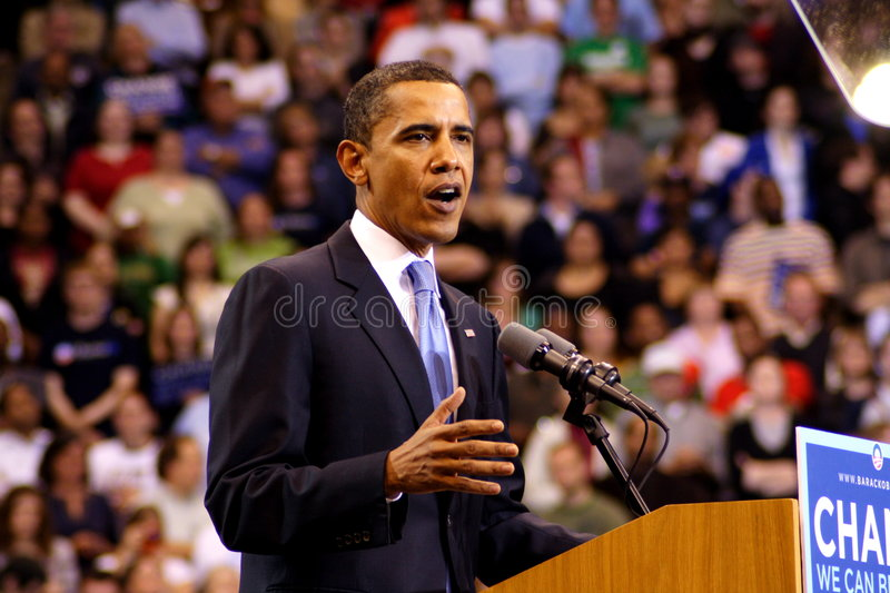 Obama Declares Victory In St. Paul, MN. ST. PAUL, MN - JUNE 3: Democratic presidential hopeful Sen. Barack Obama (D-IL) addresses a rally at the Xcel Energy royalty free stock image