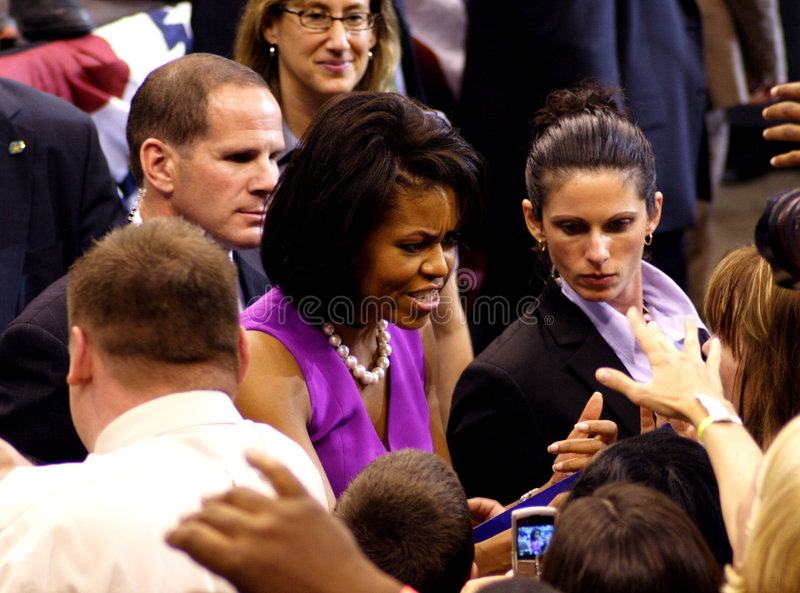 Obama Declares Victory In St. Paul, MN. ST. PAUL, MN - JUNE 3: Michelle Obama, wife of Democratic presidential hopeful Sen. Barack Obama (D-IL) greets supporters stock image