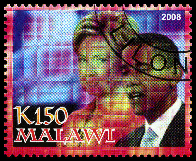 Obama en Clinton Postage Stamp van Malawi stock foto