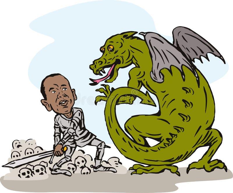Obama fighting a dragon