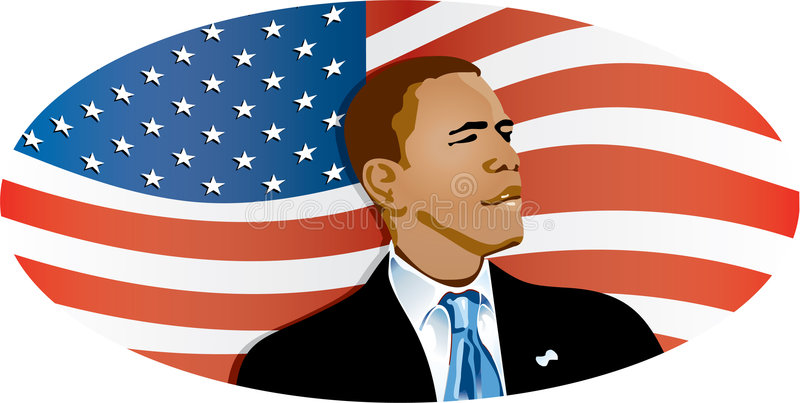 Obama Flag. Barack Obama medium shot on position lateral body watching towards the right with suit and necktie with the US flag in the back