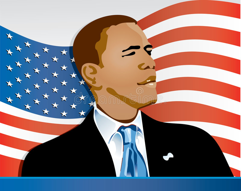 Obama Flag Two. Barack Obama medium shot on position lateral body watching towards the right with suit and necktie with the US flag in the back