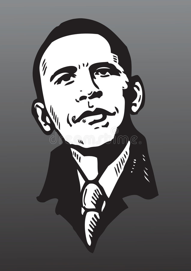 Obama poster isolated. Portrait drawing of Barack Obama on a gradient black background