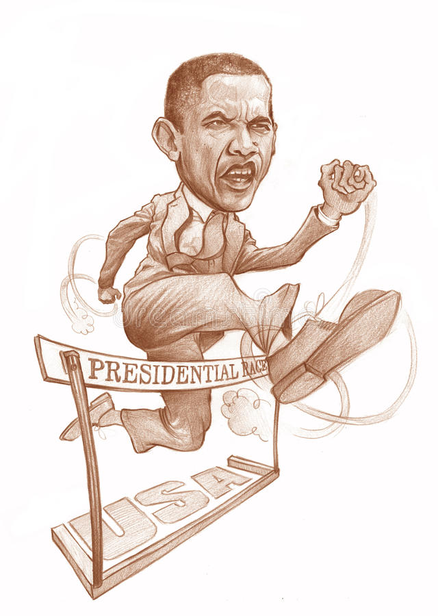 Obama Presidential Race. Obama' s caricature for editorial use, for news, magazines and web