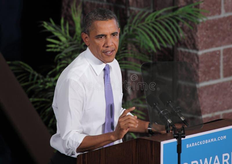 Obama Seriusly spricht in Reno stockbild