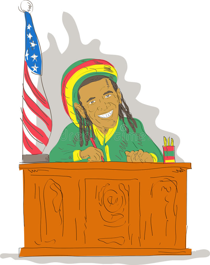 Obama zoals rastafrian in bureau stock illustratie