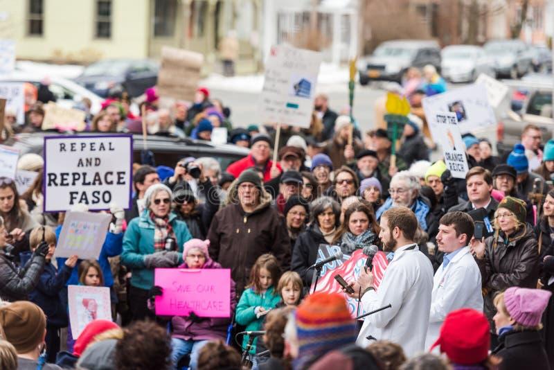 Obamacare - συνάθροιση διαμαρτυρίας - Kinderhook, Νέα Υόρκη στοκ εικόνα