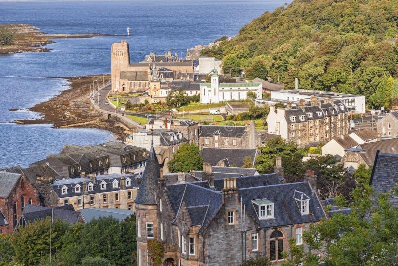 Oban, Escócia, opinião de ângulo alto da cidade fotografia de stock