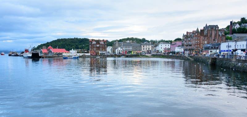 Blue hour on the Oban Bay, Scotland royalty free stock photos