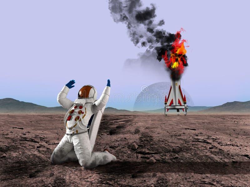 Obca planeta, astronauta, eksploraci przestrzeni kosmicznej ilustracja fotografia royalty free