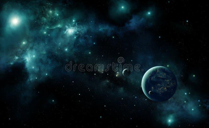 Obca planeta w przestrzeni ilustracja wektor