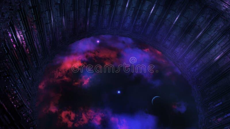 Obca stacja kosmiczna Obserwuje wszechświat ilustracja wektor