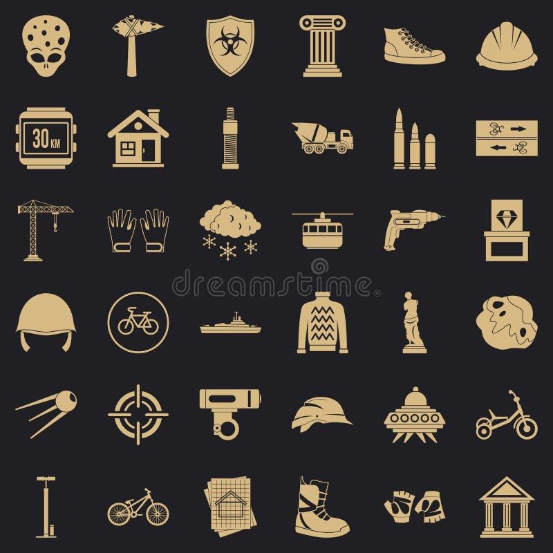 Obce ikony ustawiać, prosty styl royalty ilustracja
