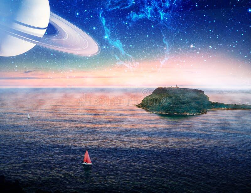 Obcego krajobraz łódź z czerwonym żagla żeglowaniem blisko małej wyspy z planetą i galaxy w niebie ilustracji