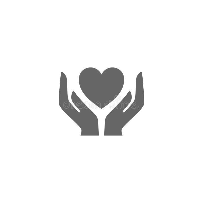 Obchodzi się ostrożnie, rękojeść z miłość wektoru symbolem Garści mienia kierowa wektorowa ikona ilustracji
