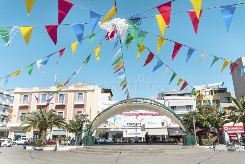 Obciosuje w centrum Kavala, Grecja fotografia stock