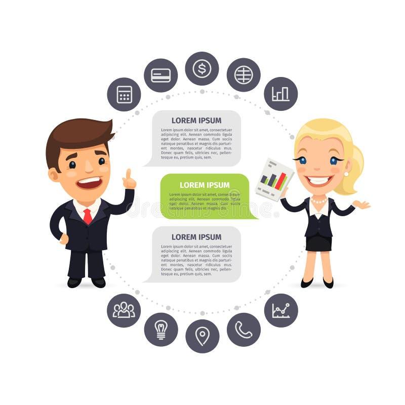 Obcojęzyczni biznesmeni Infographic z ikonami ilustracji