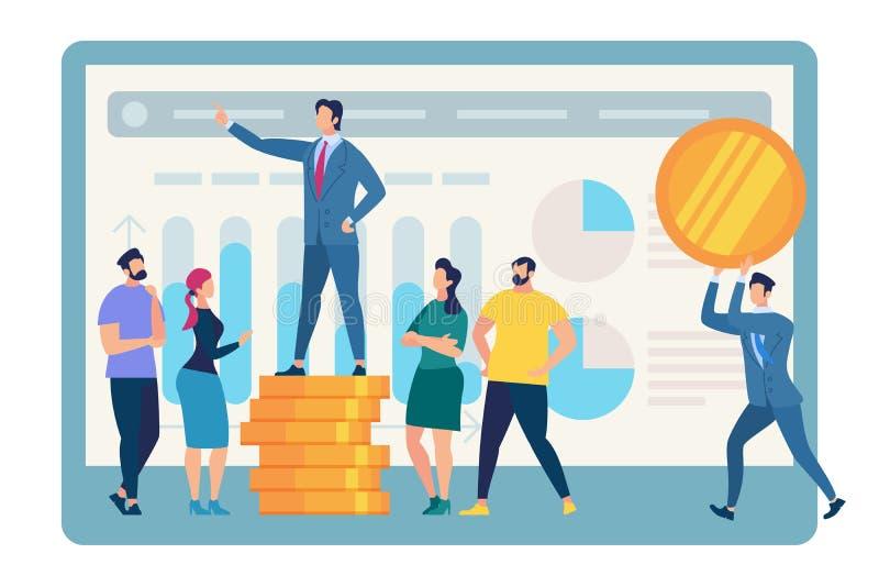 Obcojęzyczny biznesu trenera stojak na Złotym moneta stosie royalty ilustracja