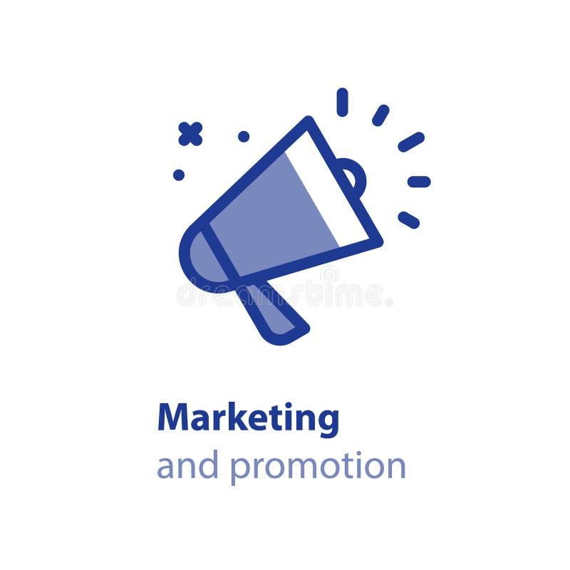 Obcojęzyczny megafonu pojęcie, kontakty z otoczeniem, reklama i promocja, wydarzenia zawiadomienie ilustracja wektor