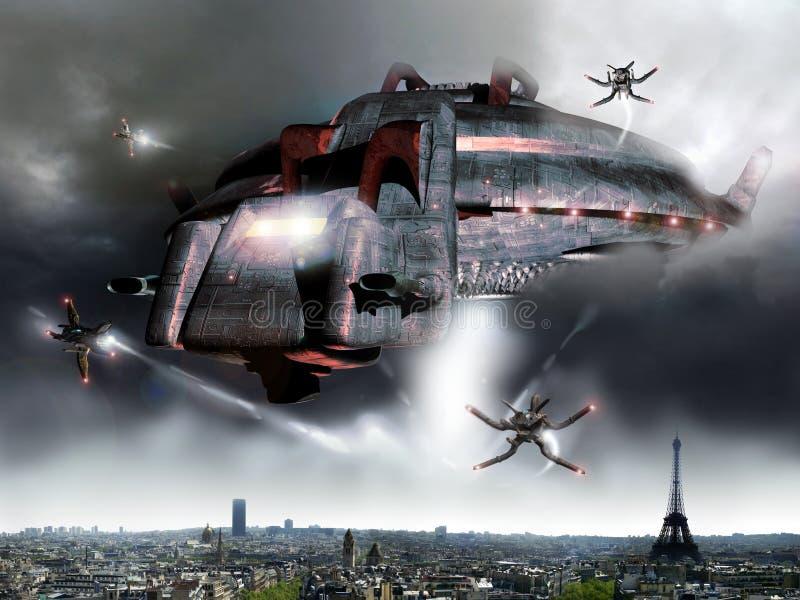 obcy inwazyjny Paris royalty ilustracja
