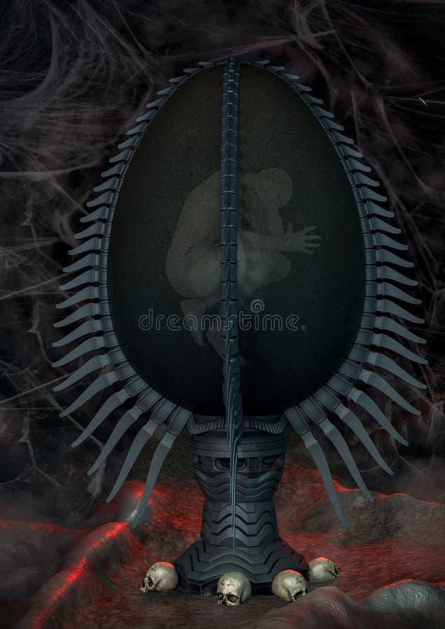 Obcy jajko z mężczyzną wśrodku ilustracji