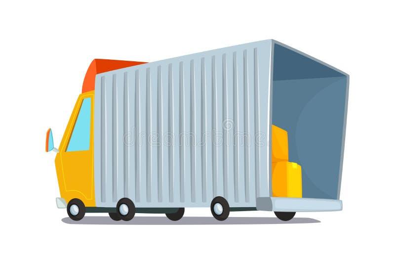 obcy kreskówki kota ucieczek ilustraci dachu wektor Pojęcie projekt doręczeniowa ciężarówka Ciężarówka dla transportu towary i zb ilustracji