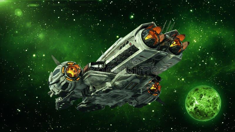 Obcy statek kosmiczny w głębokiej przestrzeni z planetą i gwiazdami w tle, UFO statku kosmicznego latanie w wszechświacie, tylni  ilustracji