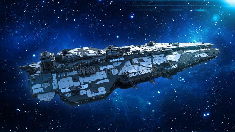 Obcy statek kosmiczny w wszechświacie, statku kosmicznego latanie w głębokiej przestrzeni z gwiazdami w tle, UFO odgórny widok, 3 royalty ilustracja