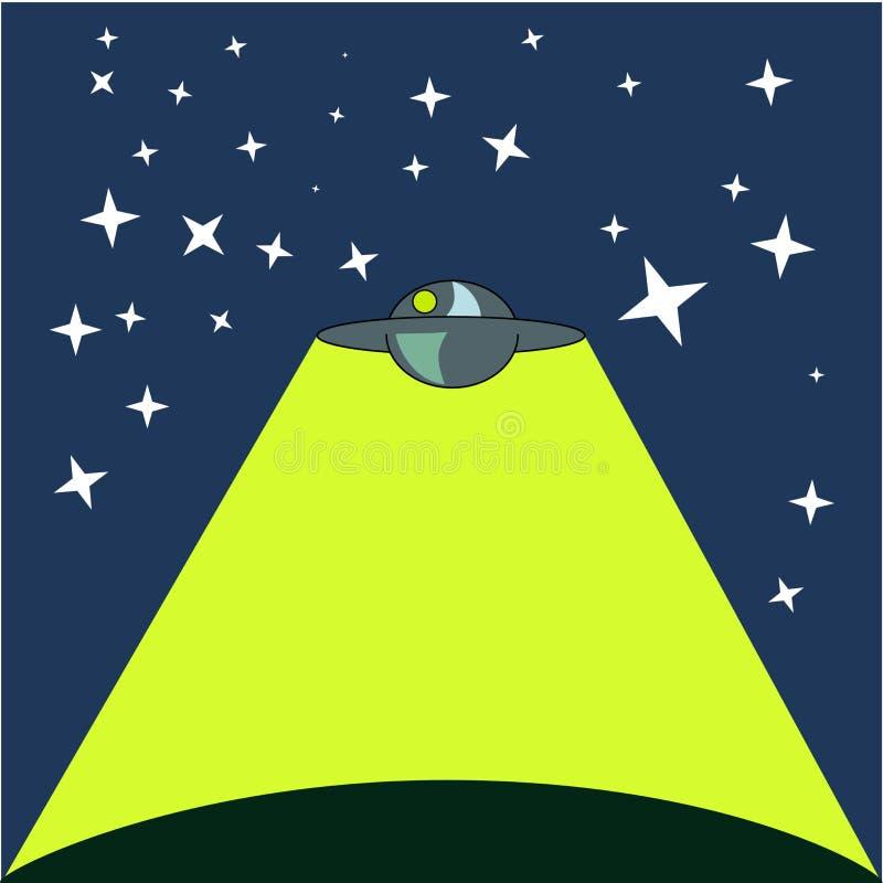 Obcy statek sos łódź na gwiaździstym niebie, błyszczy na planecie pod - stylizowany wizerunek niezidentyfikowany latający przedmi royalty ilustracja