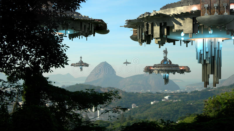 Obcy statki kosmiczni najeżdża Rio De Janeiro ilustracji