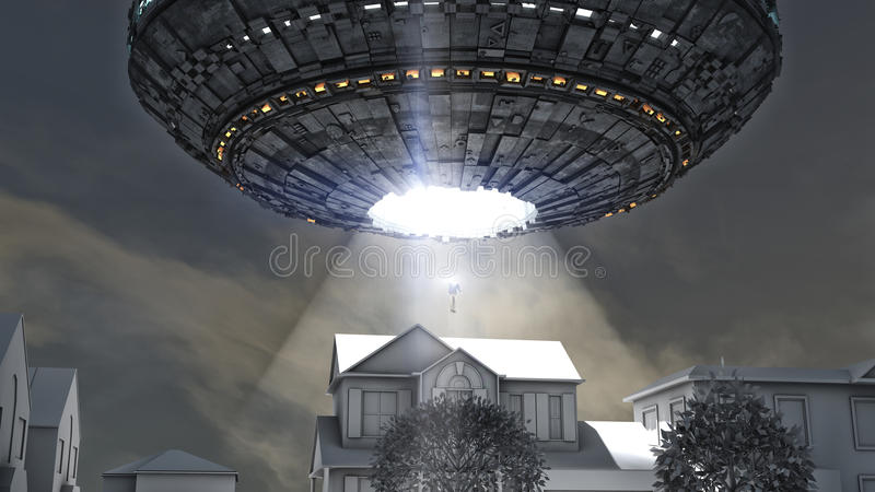 Obcy statku kosmicznego uprowadzenie obraz royalty free