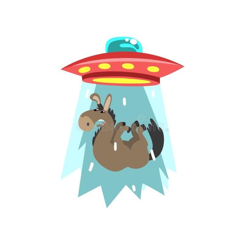 Obcy UFO statek kosmiczny bierze oddalonego osła, latający spodeczek bierze zwierzęcia używać lekkiego promień wektorowa ilustrac ilustracji