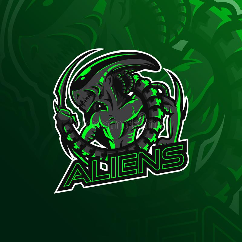 Obcy wektorowy maskotka logo projekt z nowożytnym ilustracyjnym pojęcie stylem dla odznaki, emblemata i tshirt druku, Gniewny obc ilustracja wektor