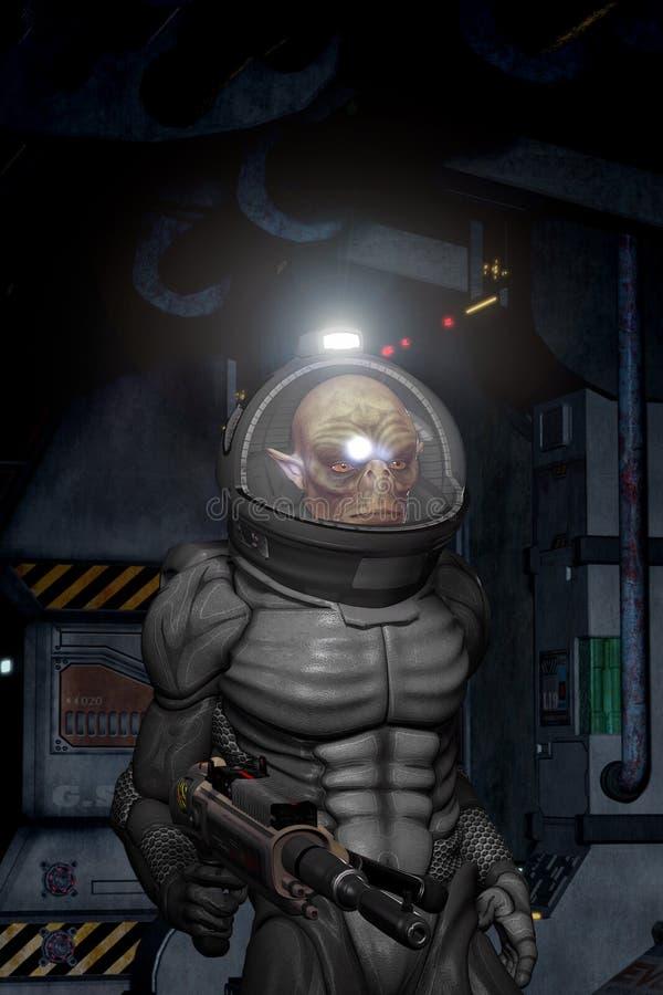 Obcy wojownik w spacesuit ilustracja wektor