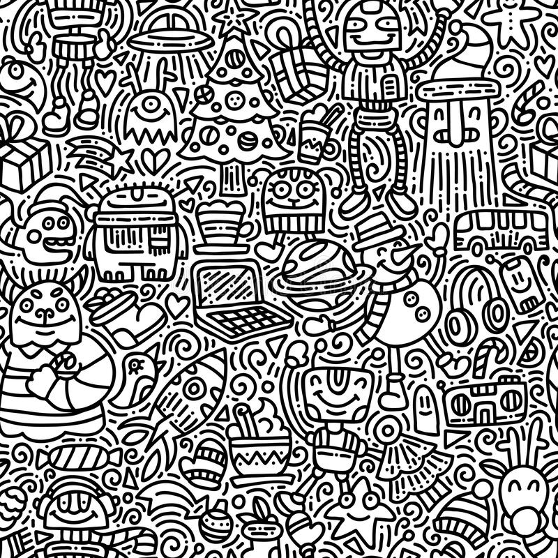 Obcy zimy wakacji doodle wektorowy bezszwowy wzór ilustracji