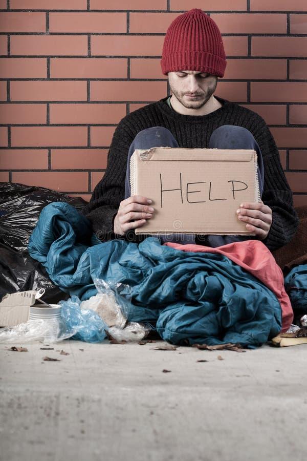 Obdachlose Bedarfshilfe lizenzfreies stockbild